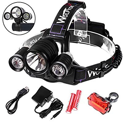 5000Lumen LED Headlamp / Bike Lights Set Wolfyok(TM) 3x CREE XM-L XML T6 Super Bright Waterproof 4 Modes Headlight Flashlight Torch for Outdoor Riding Night Fishing Hiking Camping + Bike Tail Light