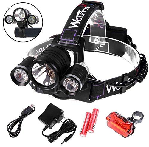 5000Lumen LED Headlamp  Bike Lights Set WolfyokTM 3x CREE XM-L XML T6 Super Bright Waterproof 4 Modes Headlight Flashlight Torch for Outdoor Riding Night Fishing Hiking Camping  Bike Tail Light