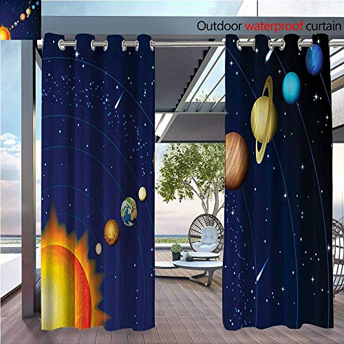 DESPKON The Shade Block Ultraviolet System with Sun Uranus Venus Jupiter Mars Pluto Saturn Neptune Bathroom Suitable for Outdoor、Open-air Wedding W84 x L96 INCH