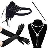 ArtiDeco 1920s Gatsby Accessories Flapper Headband Pearl Necklace Long Opera Gloves Cigarette Holder (Set 1)