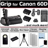 Professional EOS 60D Multi-Purpose Battery Grip for Canon EOS 60D DSLR Camera 16pc Omega Bundle by eCost (BG-E9 BGE9)