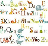 HDSUDCG Alphabet Animals ABC Wall Decals Stickers and Peel Easily Removable for Daycare School Kids Toddler Room Decoration Decals For Baby Boys Girls-Nursery Educational Wall Art (Multi Color)