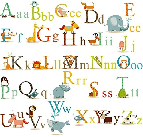 Alphabet Animals ABC Wall Decals Stickers and Peel Easily Removable for Daycare School Kids Toddler Room Decoration Decals For Baby Boys Girls-Nursery Educational Wall Art (Multi Color)