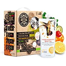 SUPER DETOX ME Purify and Debloat 1 Day Reset Cleanse by LemonKind, Fruits & Veggies plus SUPERFOODS – Chlorella, Turmeric, Chia, Green Tea and Acerola - 8 Juices