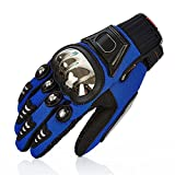 TINTON LIFE Metal Protective Motorcycle Gloves Full Finger Gloves Summer Motorbike Gloves, Blue X-Large
