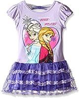 Disney Girls' Frozen Elsa and Anna Tulle Skirt Bow Dress