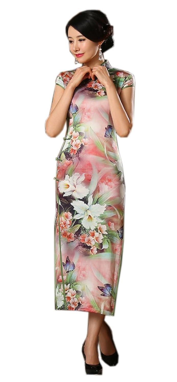 Yue Lian Damen Blumen und Schmetterling Qipao Figurbetont Maxikleid ...