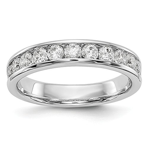 (JewelrySuperMart Collection 3/4 CT 14K White Gold 11 Stone Diamond Wedding Band Comfort Fit Open End Series. 0.77 ctw.)