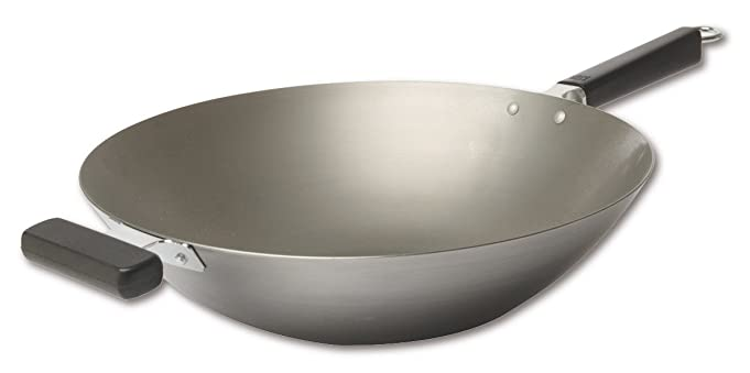 Joyce Chen 22-0060, 14-Inch Pro Chef Flat Bottom Wok Uncoated Carbon Steel