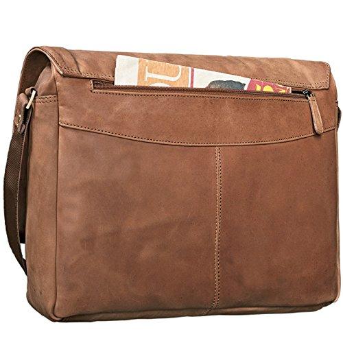 STILORD 'Lonzo' Vintage Bolso de Bandolera Hombres Mujer Piel Laptop 15.6 pulgadas Messenger Bag Portatil Maletín cuero auténtico, Color:marrón antico marrón