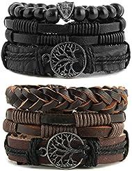 HZMAN Mix 6 Wrap Bracelets Men Women, Hemp Cords Wood Beads Ethnic Tribal Bracelets Leather Wristbands (Tree of Life)