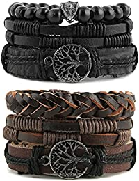 Mix 6 Wrap Bracelets Men Women, Hemp Cords Wood Beads Ethnic Tribal Bracelets Leather Wristbands (Tree of life)