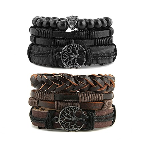 (HZMAN Mix 6 Wrap Bracelets Men Women, Hemp Cords Wood Beads Ethnic Tribal Bracelets Leather Wristbands (Tree of Life) )