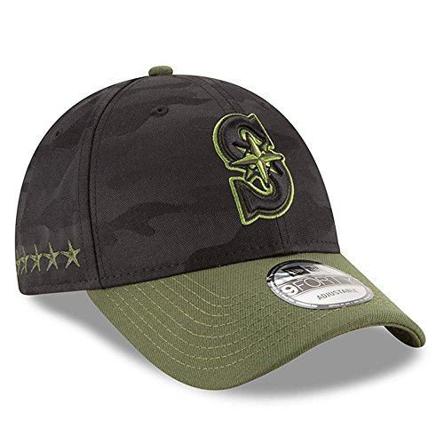 New Era Authentic Seattle Mariners Memorial Day 9Forty Adjustable Hat - Black/Rifle Green