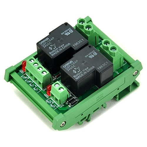 ELECTRONICS-SALON DIN Rail Mount Coil 24V Passive 2 Channel SPST-NO 30A 30Amp Power Relay - Power 30 Amp Relay