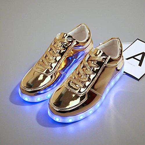 Leuchten Hell Schuhe Unisex Glow Blinkende Ladekabel Hip Pop Schuhe Paar Tanz Sneaker Mode USB bescita Gold LED OdqxZfO0