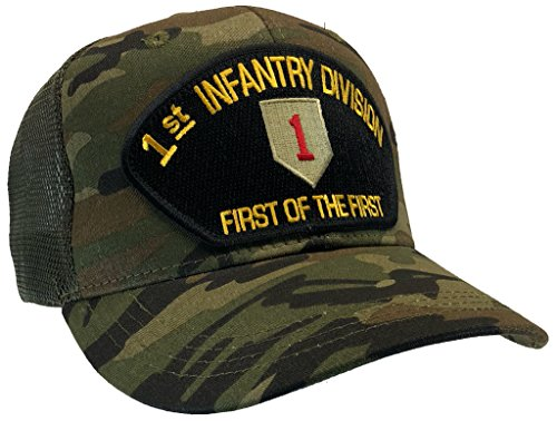 US Army 1st Infantry Division Hat Camo Ball Cap MESH BACK TRUCKER