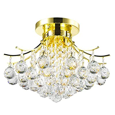 """Worldwide Lighting Empire Collection 3 Light Gold Finish and Clear Crystal Flush Mount Ceiling Light 16"""" D x 12"""" H Round Medium"""