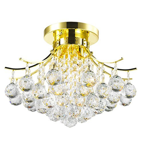 Worldwide Lighting Empire Collection 3 Light Gold Finish and Clear Crystal Flush Mount Ceiling Light 16