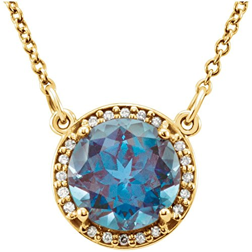 "14k Yellow Gold Gem Quality Chatham Alexandrite & Diamond Halo Pendant 16"" Necklace"