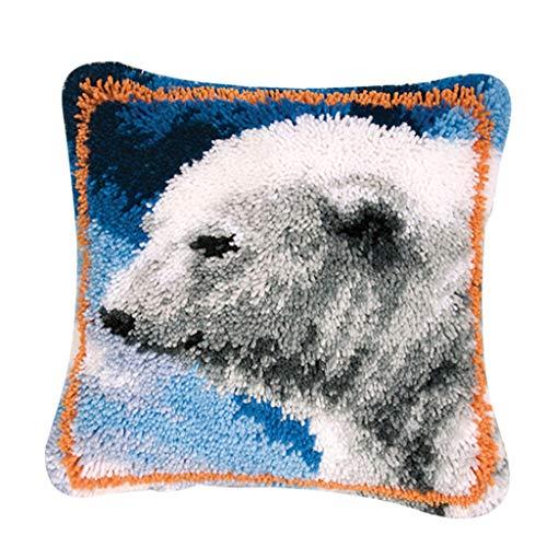 Pillow Hook Bear Latch (Baosity Ainmal Latch Hook Kits Embroidery Needlework Supplies for Pillow Cover Sofa Cushion 43x43cm - Polar Bear)