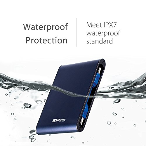 Silicon Power 2TB Type C External Hard Drive USB 3.0 Rugged Armor A80 Military-Grade Shockproof / IPX7 Waterproof, Dual Cables Included (Type C to Type A & Type A to Type A), Blue by Silicon Power (Image #3)