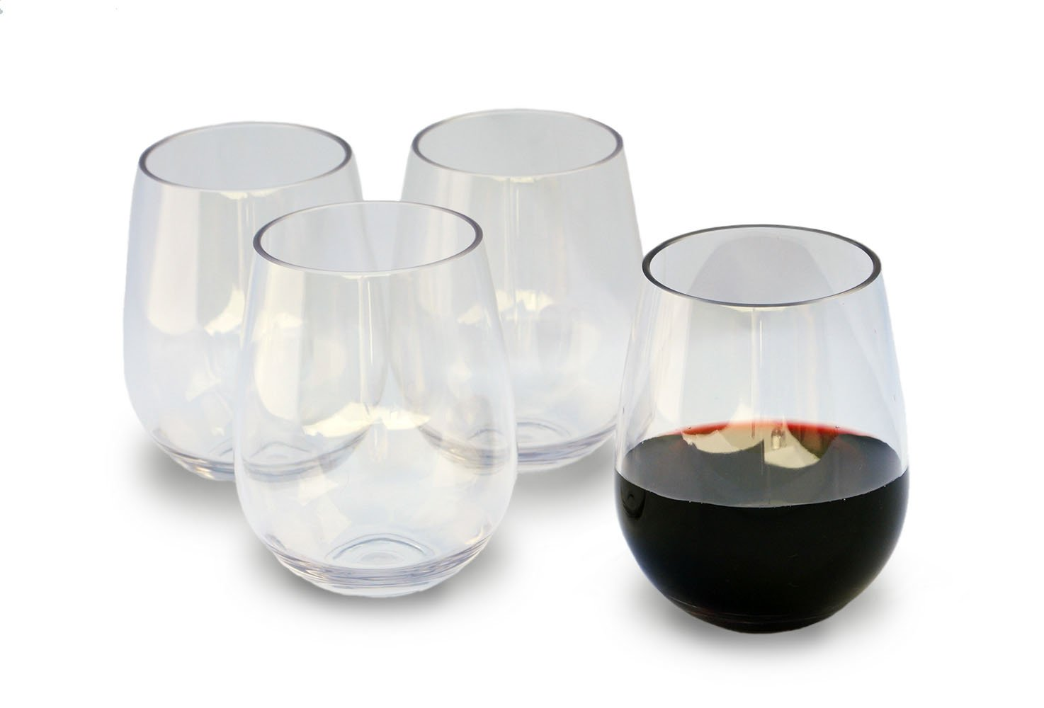 b527df7dd04 Unbreakable Stemless Wine Glasses, 16 Ounce Set of 4 by Candaven Home,  Heavy Gauge Triton Plastic, BPA Free, Shatterproof, Crystal Clear