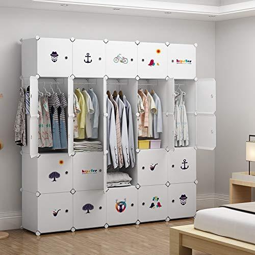 (GEORGE&DANIS Portable Wardrobe Plastic Modular Closet Organization Customizable Cube Storage Organizer Bedroom Armoire Dresser, White, 5 Hangers & 14)