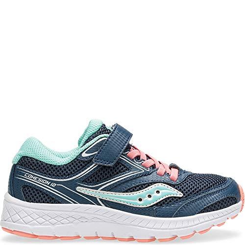 Saucony Girls' Cohesion 12 A/C Sneaker, Navy/Turq, 11 M US Little Kid (Shoes Little Saucony Kid)