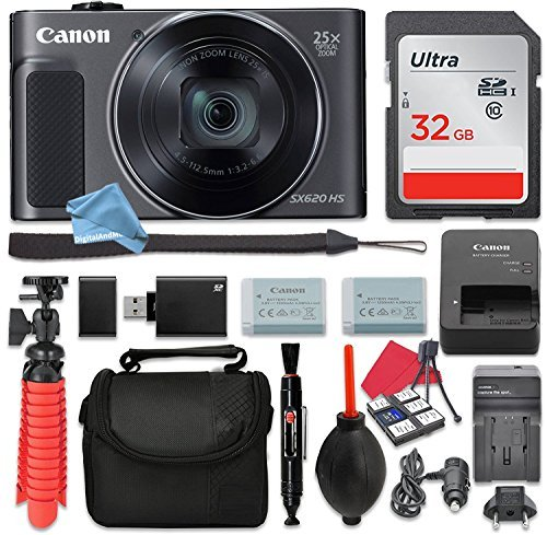 - Canon PowerShot SX620 HS Digital Camera (Black) 25x Optical Zoom + 32GB SD + Spare Battery + Complete DigitalAndMore Free Accessory Bundle