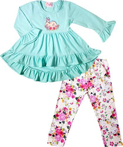 (Boutique Baby Girls Happy Spring Easter Bunny Vintage Floral Top Leggings Set Light Blue Floral 18-24M/XS)
