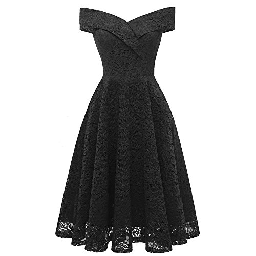 iLUGU Women Vintage Princess Floral Lace Cocktail Off Shoulder Party Aline Swing Dress Black ()