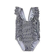 Newborn Baby Girl Floral Swimsuit Ruffles Bathing Suit Bikini Striped Swimwear