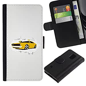 Paccase / Billetera de Cuero Caso del tirón Titular de la tarjeta Carcasa Funda para - Yellow Sports Car Powerful Rally Expensive Cool - Samsung Galaxy S5 V SM-G900