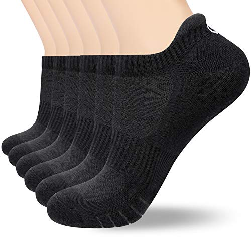 Anqier Ankle Athletic Socks Men Women 6 Pack Low Cut Running Sports Non-Slip Cotton Cushioned Tab Socks