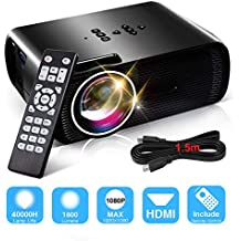 1800 Lumens Video Projectors, Konomio Home Theater Portable Mini Full HD Movie Projector Supports 1080P, HDMI, USB, VGA, AV, SD Card with Free HDMI Cable, Compatible with Fire TV Stick, PS3/PS4, XBOX