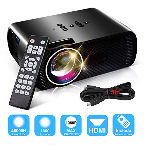 1800 Lumens Video Projectors, Konomio Home Theater Portable Mini Full HD Movie Projector Supports 1080P, HDMI, USB, VGA, AV, SD Card with Free HDMI Cable, Compatible with Fire TV Stick, PS3/PS4, XBOX by Konomio
