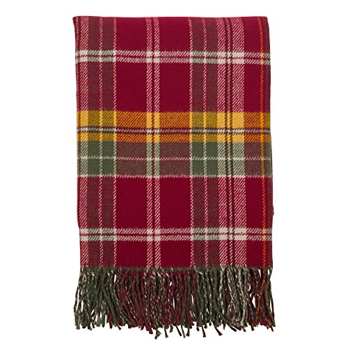 "SARO LIFESTYLE Classic Plaid Design Tassel Trim Throw Blanket, 50"" x 60"", Multi"