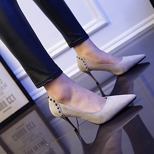 Work Heels Occupation 8Cm High Heels Heads Work Single Sharp Women Suede MDRW Shoes Shoes Rivets Leisure Spring Fine Lady Gray Elegant Elegance 39 qffTpn8H