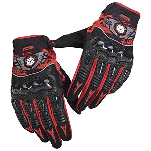 AMCER Men Women Motorcycle Gloves Wearable Leather Racing Motorbike Motocross Gloves with Glass Fiber Hard Knuckle Protection Shell Red Large