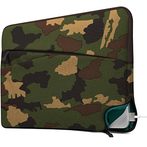 GMYLE 13 - 13.3 inch Water Resistant Laptop Sleeve with Charging Opening for Macbook Air Pro & other Laptops (Chromebook Dell HP ASUS Lenovo Acer) - Camouflage Pattern Slim Soft Bag Case Cover - Camo Computer Case