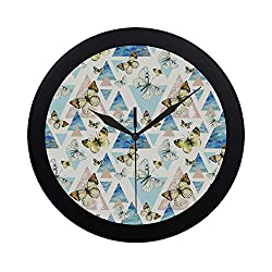 Modern Simple Girls Butterfly Fairy with Flowers Wall Clock Indoor Movement Wall Clcok for Office,Bathroom,livingroom Decorative 9.65 Inch