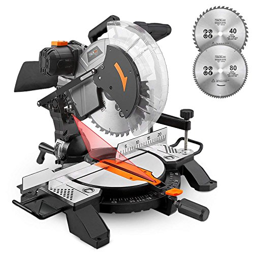 - Compound Miter Saw, 15Amp 12inch, Laser Guide, 10ft/3M Cord Length, 2 Blades for Wood, Mild Steel, Plastics, Aluminum, Metal - Tacklife PMS02X