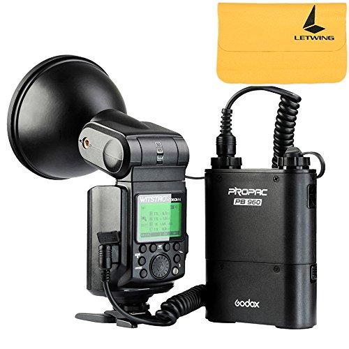 Godox Witstro AD360II-N TTL 360W GN80 Powerful Speedlite Flash Light + 4500mAh PB960 Lithium Battery for Nikon Camera (AD360II-N Black) by Godox