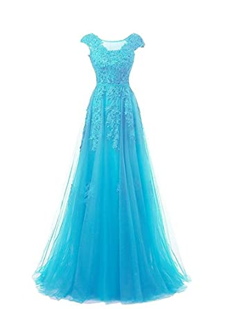 Carnivalprom Womens Scoop Neck Appliques Tulle Prom Dresses Long Elegant Evening Gown 6 Blue