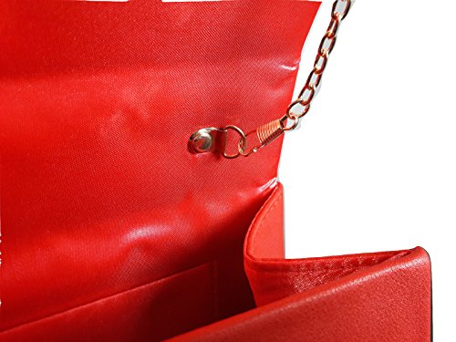 borsa bag Rosso tracolla rigida a spalla moda pochette donna bauletto elegante manico a cerimonia ecopelle perle mano r7qraHUT