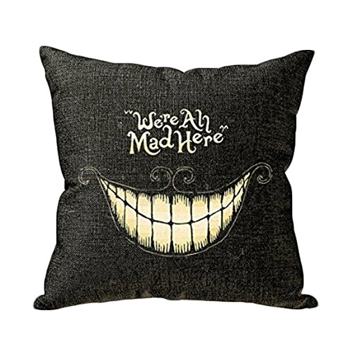 JLHua We Are All Mad Here Linen Cotton Laugh Decorative Throw Pillow Case Cushion Cover, 18