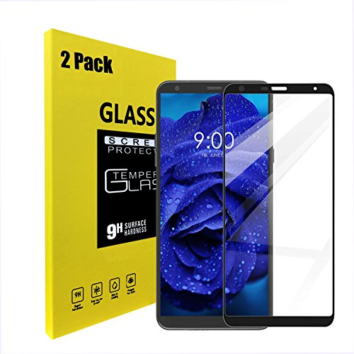 LG stylo 4 / LG Stylus 4 Screen Protector, Haibao 9H Hardness Tempered Glass Full Cover Crystal Clear Easy Bubble-Free Installation Scratch Resist LG stylo 4 / LG Stylus 4, Black (2 Pack)