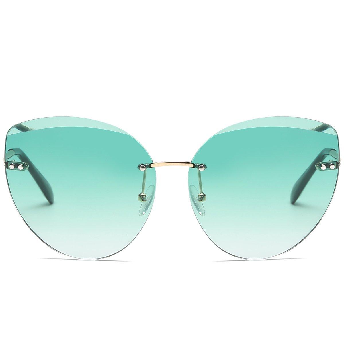 Rimless Cat Eye Sunglasses for Women, Summer Trendy One Piece Mirror Reflective Eyeglasses for Men (Light Green)