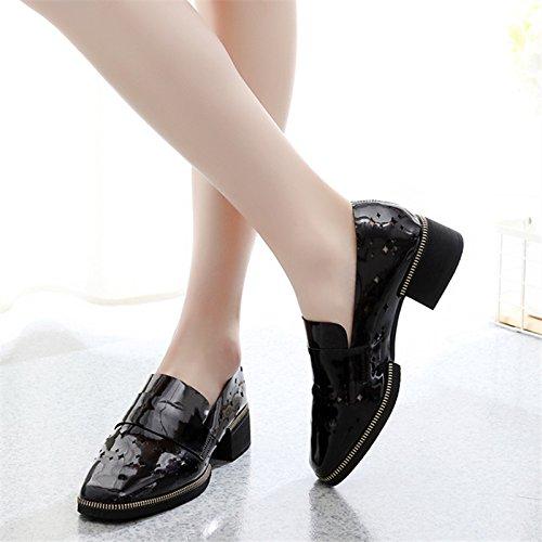 GTVERNH-Casual Schuhen Frauen Höhle Füße Einzelne Schuhe Frühling Höhle Frauen Schuhe Faulpelz Pedale Atmungsaktiv Damenschuhe schwarz 95dcfd